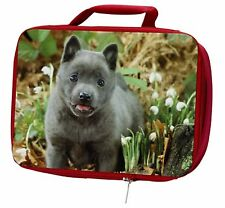 More details for blue schipperke dog insulated red school lunch box/picnic bag, ad-bs1lbr
