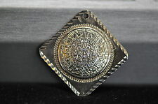 Vintage Sterling Silver Mexico Aztec Calander Pendant Diamond Cut .36oz. Nice!!