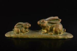 L67: Japan Iron Rabbit STATUE sculpture Ornament Figurines Okimono Tea Ceremony