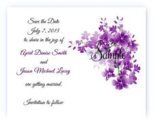 100 Personalized Custom Purple Vine Floral Bridal Wedding Save The Date Cards