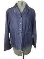 J.JILL DENIM Blue Denim Blazer  Jacket Sz MEDIUM Cotton  Linen  4 Button