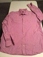 Men's Ike Behar Long Sleeve Button Front Striped Pink Shirt Size XL