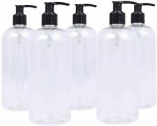 5 x 500ml Clear PET Plastic Bottles with Black Hand Soap Lotion Pump Dispensers