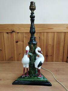Vintage Old Antique Style Ceramic Table Lamp With 3 Flamingo Birds