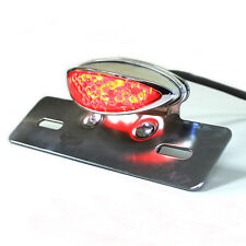 CHROME LICENSE PLATE HOLDER MOUNT LED BRAKE TAIL LIGHT ATV QUAD DIRT MOTORCYCLE