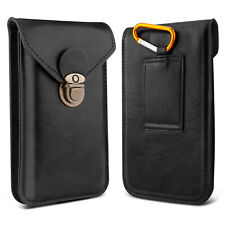 Men Cell Phone Belt Pack Bag Pu Leather Loop Dual Layer Waist Holster Case Cover