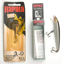 2 vintage Rapala Lures - Floating Minnow #9S Nib & Ice Jigging Lure #W-3G Nocard