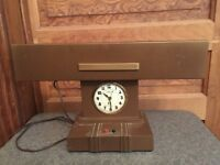 Vintage Mid Century Modern LiteMaster Desk Lamp and Clock Combination