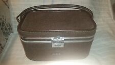 Vintage Skyway Carry Case Makeup Travel Bag Carry On Tweed Brown Leather