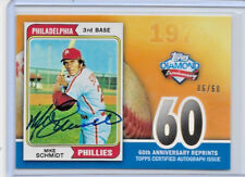 2011 TOPPS DIAMOND 60TH ANNIVERSARY MIKE SCHMIDT AUTO SIGNATURE 6/60 ON CARD SSP