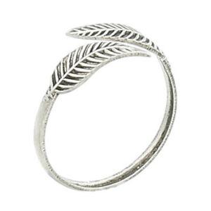 Genuine 925 Sterling Silver Toe Ring Adjustable Leaf Feather Girl Women