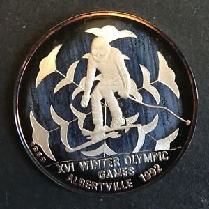 Cambodia - Silver 20 Riels Coin - 'Winter Olympics ~ Skier' - 1992 - Proof