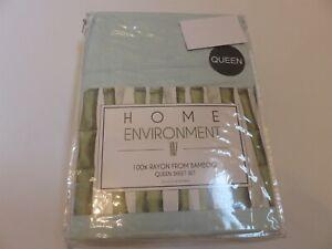 Home Environment Bamboo Green 4P Queen Sheet Set NIP