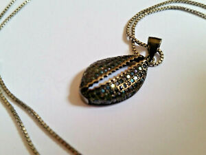 Sterling Silver 925 Chain Necklace Oxidized Silver Shell Pendant With Crystals