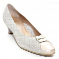 Beautifeel April Taupe White Linen Print Patent Leather Comfort Pumps Size 38
