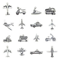 Lot of 16 Mixed Silver Metal Bus Car Ship Pendants Charms DIY Jewelry Findings