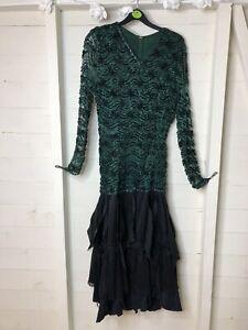 Vintage Ballroom Dancing Dress Green Black Sequins Fits 8-10