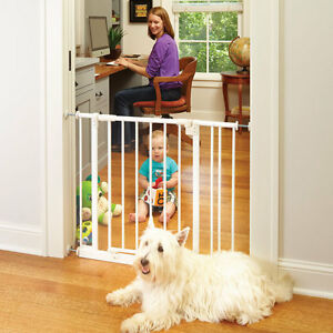 North States Easy Close Pressure Mount Metal Pet Dog Child Gate White NS4991S