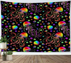 Colored Jellyfish Tapestry Psychedelic Marine Life Wall Hanging Bedspread Cover