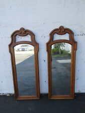 French Carved Pair of Wood Bathroom Vanity Wall Mirrors 8968