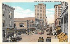 1920's Stores Trolley Forsyth St. looking West Jacksonville FL postcard