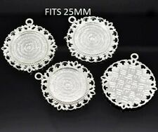 2 xSilver plated cabochon setting pendants size : 4.4x4cm Fits 25mm glass
