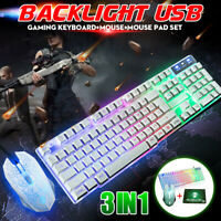 T6 Gaming Keyboard and Mouse Set for PC Laptop Rainbow Backlight Usb Ergonomic ☆
