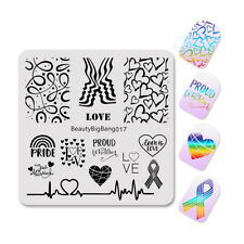 2Pcs Women Girls Lgbt Pride Rainbow Nail Art Stamp Plate Stencil Template Tool
