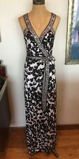 Diane Von Furstenberg Black & White Samson Long Wrap Dress, Sz 4, Stunning!!!