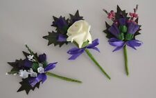 Scottish Thistle buttonhole corsage for wedding groom best man