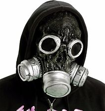Gas Mask Silver/Black Costume Prop Zombie Reaper Fake Invisible Eyes Halloween