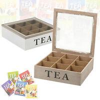 9 Compartments Wooden Tea Box Hinged Glass Lid Tea Bag Storage Box Kitchen Home