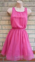 H&M PINK TULLE ZIP BACK A LINE SKATER SLEEVELESS PARTY FLIPPY PARTY PROM DRESS 6