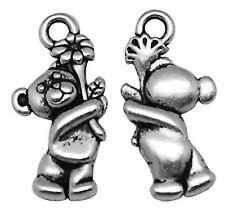 30 Tibetan Silver 3D Teddy Bear Flower Charms Pendants