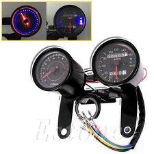 New Universal Motorcycle Odometer & Tachometer Speedometer Gauge + Bracket Kit
