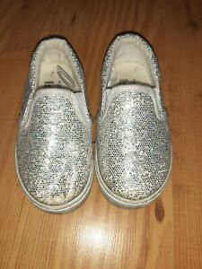 Baby Girls Size 5 Infant Silver Glittery Shoes From Primark
