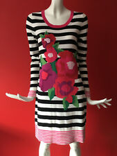 NEXT Floral Striped Knitted Stretch Autumn Winter Jumper Dress Long Sleeve UK 16