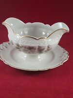 EMBASSY USA VITRIFIED CHINA DOGWOOD GOLD RIM GRAVY BOAT WITH ATTACHED UNDERPLATE