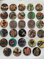 (091) Lot 26 Pog dos Violet Purple+33 Metal Red Comic Cap Z # Pogs Tazo RARE USA
