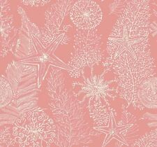 Raised Textured Coral On Satin Salmon Coral Wide Wallpaper AC6021
