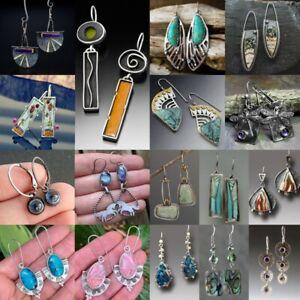 Vintage 925 Silver Turquoise Ear Hook Earrings Women Wedding Dangle Drop Jewelry