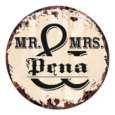 Cpf-0284 Mr. & Mrs. Pena Circle Sign Rustic Tin Bar Home Man Cave Gift