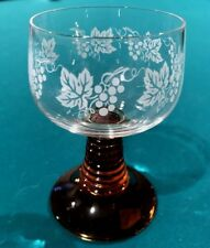 Vintage Schott Zwiesel Grape Etched Amber Ribbed Stem Cordial Wine Glass Beehive