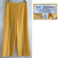 "ST JOHN Sz 10 Yellow Flat Front Santana Knit 32"" x 28"" Crop Wide Leg Pant EUC"