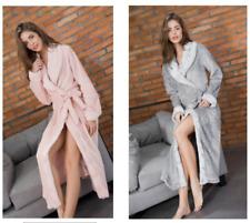 Women Cute Cotton Flannel Fleece Long Sleeve Soft Cozy Bath Robe Sleepwear Warm