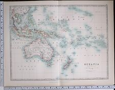 1904 LARGE MAP OCEANIA AUSTRALIA NEW ZEALAND POLYNESIA BORNEO NEW GUINEA