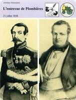 FICHE CARD Entrevue de Plombières 21 Juillet 1858 Napoléon III Cavour France 90s