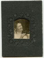 Young Woman & Violin  Vintage Music Photo
