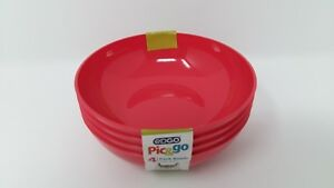 16 x EDGO Pic&go 4 Pack Plastic Bowls Pink Pastel Party Event Picnic BBQ Buffet