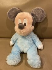 "Baby Mickey Mouse Plush Doll  Disney Parks JINGLE rattle 10"" SOFT pastel Blue"